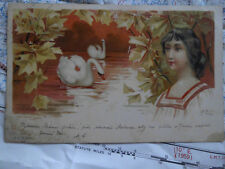 Abend Frau Schwäne See Blätter Gemälde Kunst Postkarte Ansichtskarte 3417