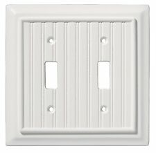 126359 White Beadboard Wood Architect Double Switch Cover Plate
