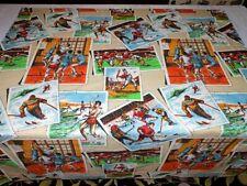 Vintage Pair Curtain Panels Drapes Cotton Fabric Screen Print Sports 50x48 Retro