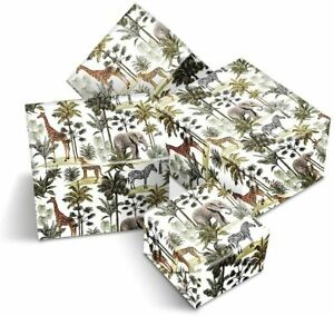 4 x Wrapping Paper Sheets - Vintage Jungle Giraffe Elephant Gift Wrap #170112