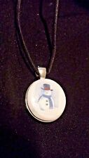 Classic Snowman Winter Magnet Pendant & Black Leather Cord Choker Necklace–Hand