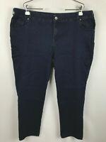Lane Bryant Womens Size 24W Stretch Dark Wash Blue Denim Tapered Jeans