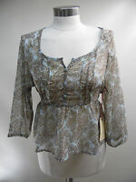 New Band Of Gypsies Floral Waist tie Tunic W57 22672 BNN9 /Blue Brown /Large..