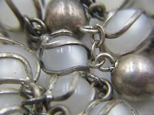 "† RARE SUPER UNIQUE VINTAGE SIGNED STERLING FULLY CAGED MOONGLOW  ROSARY  33"" †"