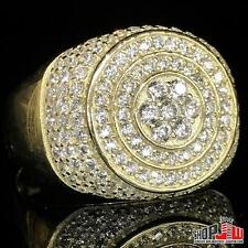 Mens Gold Finish .925 Silver Simulated Diamond Ring Round Pinky Round Micro Pave