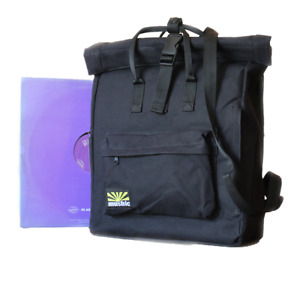 """Mushic Record Backpack Fits 12"""" In Black - Vinyl Bag Record Collector Men Womens"""