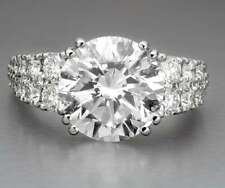 Cubic Zirconia Engagement Women Ring Beautiful Impression With 6.08Ct Round Cut