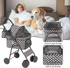 Vilobos Folding Pet Stroller 4 Wheels Small Dog Cat Travel Carrier Jogging Cart