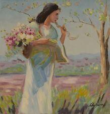 Leinwand Gemälde Blumen Mädchen Holland Vintage Geschenk Deko Geschenk  80x80 cm