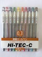 10 colours Pilot HI-TEC-C 0.3mm roller ball GEL pen SET