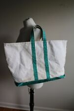 Vtg LL Bean Green Cotton Canvas Large Boat Tote Bag Short Handles