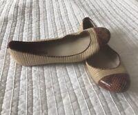 $110 Michael Kors Hanna Orange Toe Designer Ballet Flats Snakeskin Jute SIZE 7.5