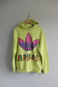 Adidas Originals Jeremy Scott pullover hoody M Lime Green Sweater trefoil 2014