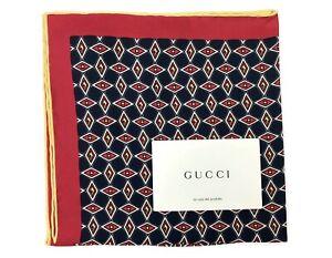Gucci Pocket Square Geometric G Silk - Navy - RRP £110 - Brand New