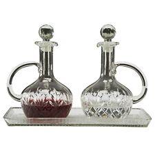 N.G. Sudbury Glass Cruet Set with Tray for Church Supply Use, 3 Piece