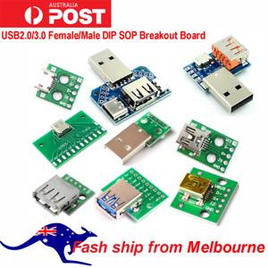 USB2.0/3.0 Female/Male DIP SOP Breakout Board Pinout Header Arduino Pi AU Stock