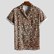 Mens Leopard Print Chest Pocket Turn Down Collar Short Sleeve Casual Loose Shirt