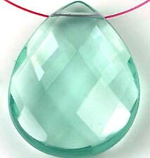 40mm Aqua Blue Glass Quartz Faceted Teardrop Pendant Bead