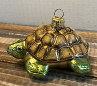Vintage Hand Blown Glass Turtle Tortoise Christmas Ornament