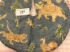 "19"" India Animal Blue elephant tiger Christmas Tree Skirt Table top size"