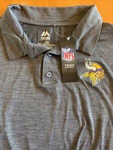 Minnesota Vikings Men's Majestic Golf Polo Tee Shirt Charcoal New Medium M Large