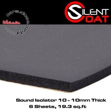 Silent Coat Noise Isolator 10 - 6 Sheet Pack 50cm x 60cm Deadening 10mm Thick