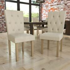 Dining Chairs Set of 2 Fabric Wood Legs Kitchen Dining Room Set Cream & Oak
