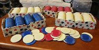 "Large Lot Vintage Stackwell Harvite 1.5"" Poker Chips Red Blue White 1930s"