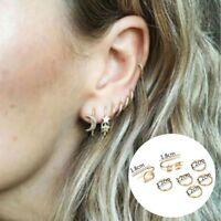 Simple Minimalist Punk Tiny Jewelry Moon Earrings Set Hoop Star Ear Stud