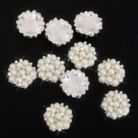 10x Crystal Rhinestone Pearl Flower Embellishments Button Flatback Wedding Decor