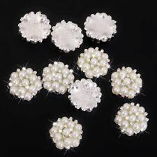 10x Crystal Rhinestone Pearl Flower Embellishments Button Flatback Wedding Decor