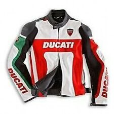 DUCATI RED/WHITE  MOTORBIKE RACING LEATHER JACKET CE APPROVED