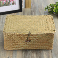 1pcs Woven Classic Handmade Utility Wicker Lidded Woven Storage Basket Box Tools