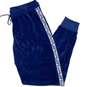 Fila Vintage Velour Pants Track Jogger Logo Spellout Stripe Drawstring Nice XL