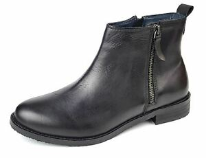 Frank James Leather Womans Ladies Zip Up Chelsea Ankle Boots Casual Black mid