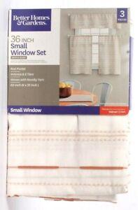 Better Homes & Gardens White & Blush Small Window Set Rod Pocket Valance & Tiers
