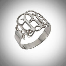 Monogram Initial Ring Custom Engrave Personal 1-3Letters Cutout STERLING SILVER