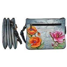 "Womens Anuschka Leather Hand Painted ""Floral Fantasy"" Handbag Cross Body Bag NWT"