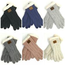 Warm Dick Damen Handschuhe gestrickt gefüttert mit Anker Motiv Fingerhandschuhe
