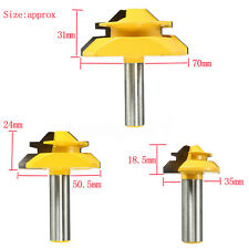 "3Pcs 1/2"" Shank Lock Miter Glue Joint Router Bit 45 Degree Woodwork Cutter Set"