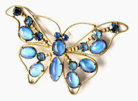 Vintage Large Gold Tone  Blue Glass Jewel Butterfly Insect Brooch GIFT BOXED