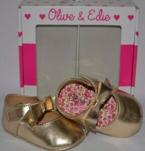 OLIVE & EDIE GOLD INFANT SANDALS SHOES BOX IN BOX SIZE 2 M 3-6 MONTHS BABY GIRLS