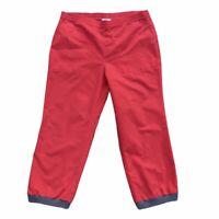 Vintage 90s Izod Lacoste Joggers Red Track Pants Activewear Zipper Ankles Medium