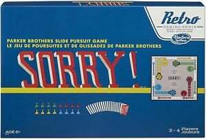 NEW -  SORRY! Board Game - (Retro Series 1958 Edition) Hasbro. Parker Brothers.