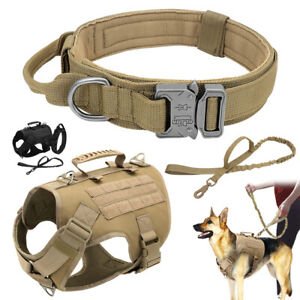 Tactical Dog Harness Training Military Collar Nylon Bungee Leash German Shepherd