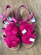New NEXT Older Girls Pink Flower Themed Sandals Shoes Size UK 2