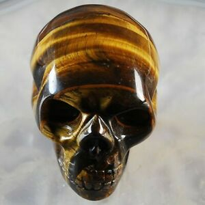 W051 51x40x34 Tiger Iron Gem Carved Skull Display Decoration