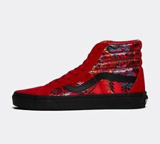 WOMENS VANS SK8 HI FESTIVAL SATIN RED/BLACK TRAINERS (SF2) RRP £79.99