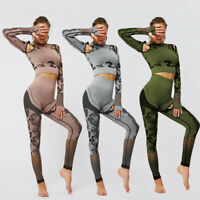Women Camo Seamless Pilates Yoga Suit Crop Top+Pants Leggings Fitness Sport Set