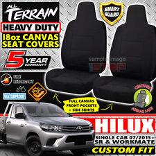 BLACK 18oz CANVAS SEAT COVERS for TOYOTA HILUX SINGLE CAB MY16 JULY/2015-2018
